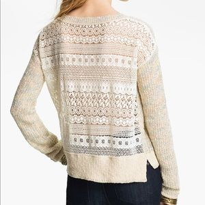 Free People Natural Lace Back Sweater